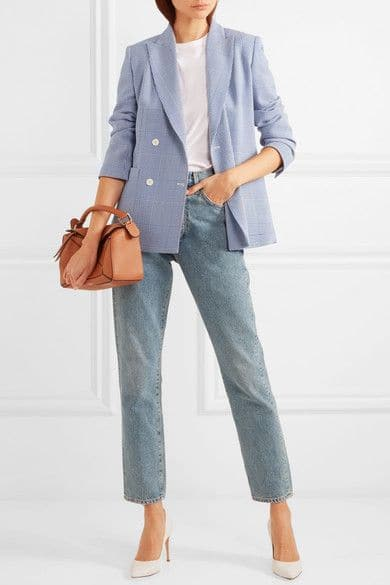 Max Mara. Double-breasted Prince of Wales Wool Blazer.              895 euros