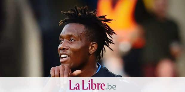Club's David Okereke celebrates after scoring during a soccer match between Club Brugge KV and Sint-Truidense VV, Friday 02 August 2019 in Brugge, on the second day of the 'Jupiler Pro League' Belgian soccer championship season 2019-2020. BELGA PHOTO VIRGINIE LEFOUR