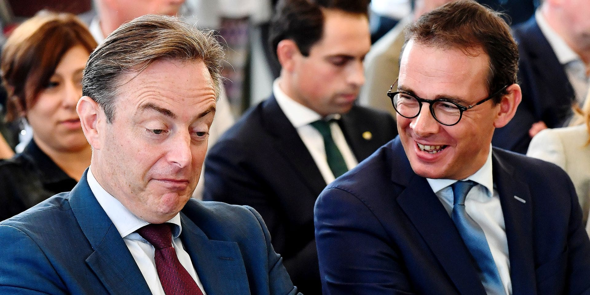 N-VA chairman Bart De Wever and CD&V chairman Wouter Beke pictured during the drawing of the list numbers for the upcoming local elections in the Flanders region, Tuesday 04 September 2018 in Brussels. BELGA PHOTO DIRK WAEM