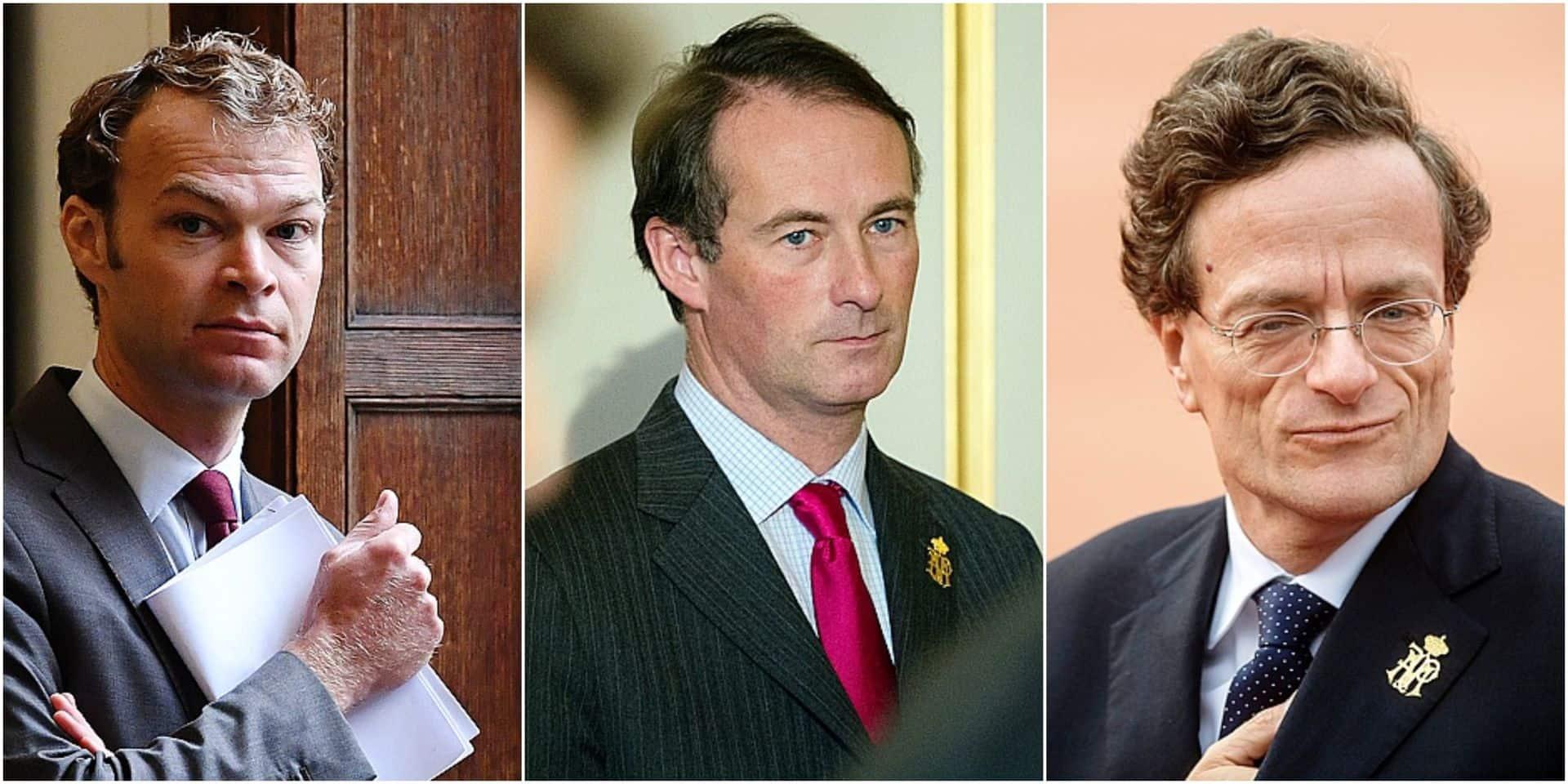 Francis Sobry, porte-parole du Palais, Pierre Cartuyvels, conseiller diplomatique et chef de cabinet adjoint, et Vincent Houssiau, chef de cabinet du Roi