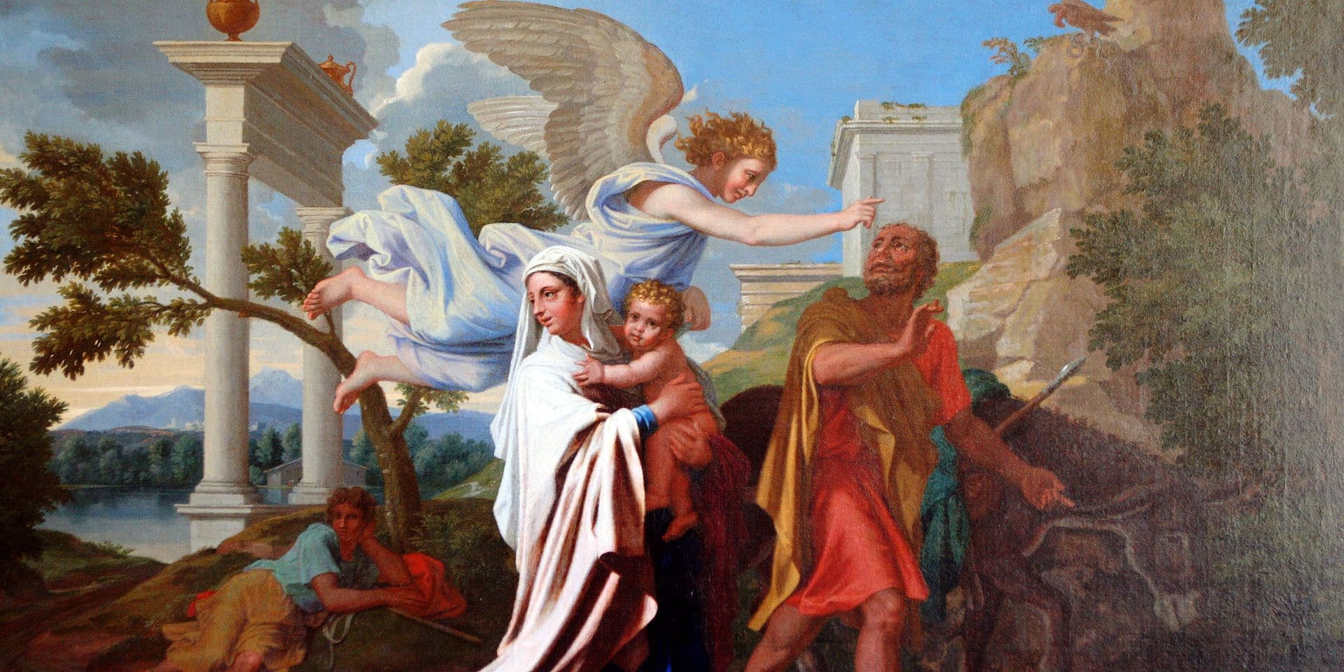 """A picture taken 18 July 2007 at the Louvre museum in Paris, shows the painting """"La Fuite en Egypte"""" (The Flight into Egypt) by French baroque painter Nicolas Poussin (1594-1665), during a press presentation, 18 July 2007 at Le Louvre museum in Paris. The piece, listed as national treasure, was bought back by the French State with sponsors for the Louvre museum and will be on show at the Beaux Arts Lyon museum. AFP PHOTO FRANCOIS GUILLOT / AFP PHOTO / FRANCOIS GUILLOT"""