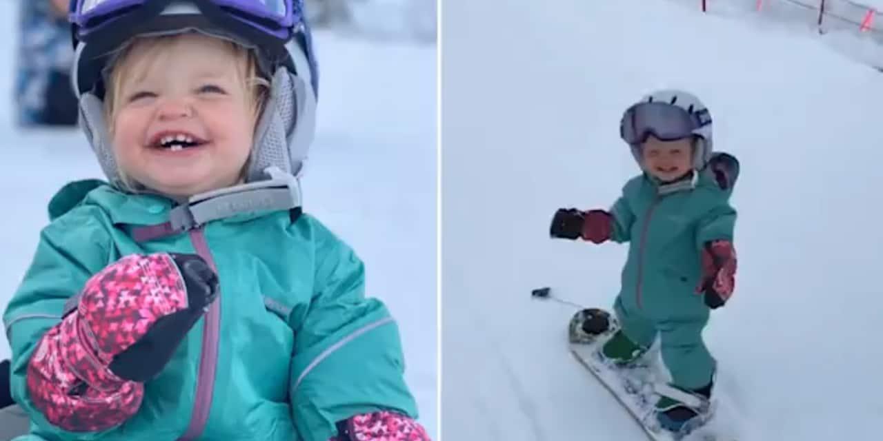 A seulement un an, elle est une véritable pro de snowboard (VIDEO)