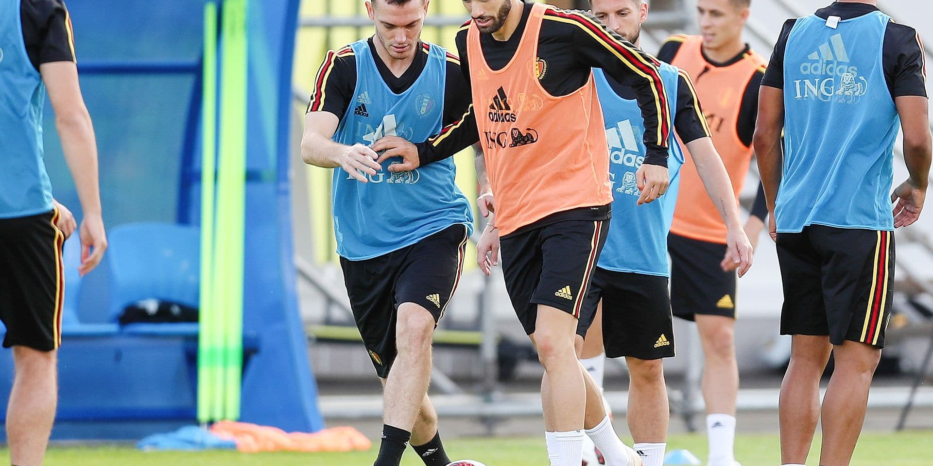 Belgium's Thomas Vermaelen and Belgium's Yannick Carrasco pictured during a training session of Belgian national soccer team the Red Devils in Dedovsk, near Moscow, Russia, Sunday 08 July 2018. The Devils qualified for the semi-finals of the FIFA World Cup 2018, next Tuesday they will meet France. BELGA PHOTO BRUNO FAHY