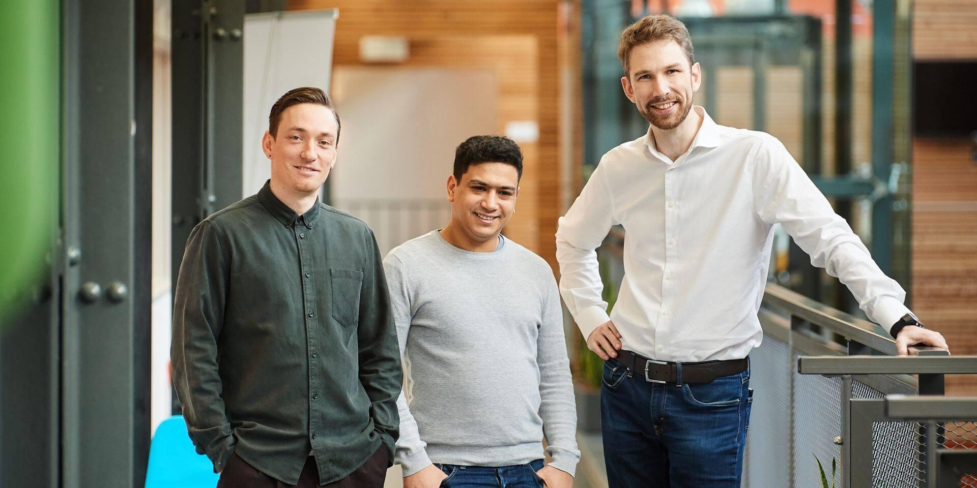 De gauche à droite: Alexandre McCormack (CEO), Zineddine Wakrim (CTO) et Grégoire de Hemptinne (COO).