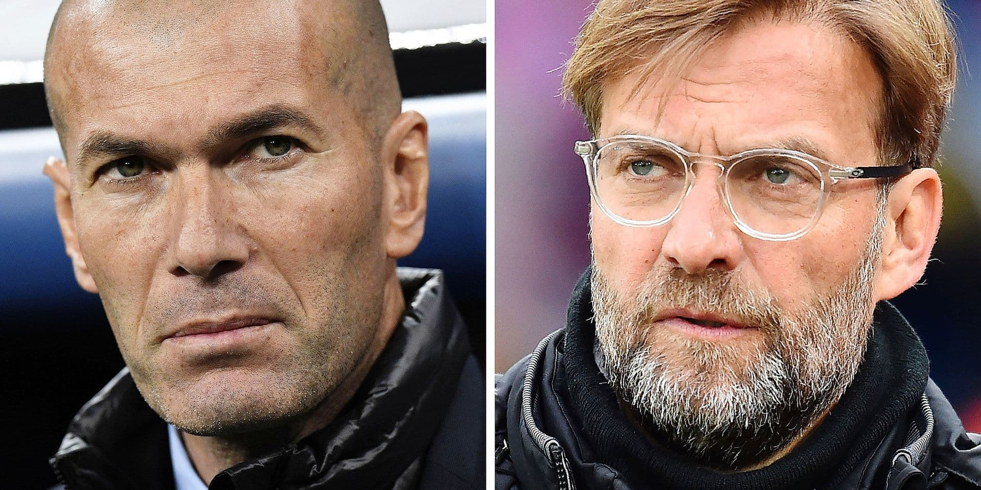 This combination of file pictures made on May 23, 2018, shows Real Madrid's French coach Zinedine Zidane (L) in Madrid on February 14, 2018, and Liverpool's German manager Jurgen Klopp in London on March 31, 2018. Real Madrid CF and Liverpool FC will play the UEFA Champions League final football match in Kiev on May 26, 2018. / AFP PHOTO / Gabriel BOUYS AND Glyn KIRK