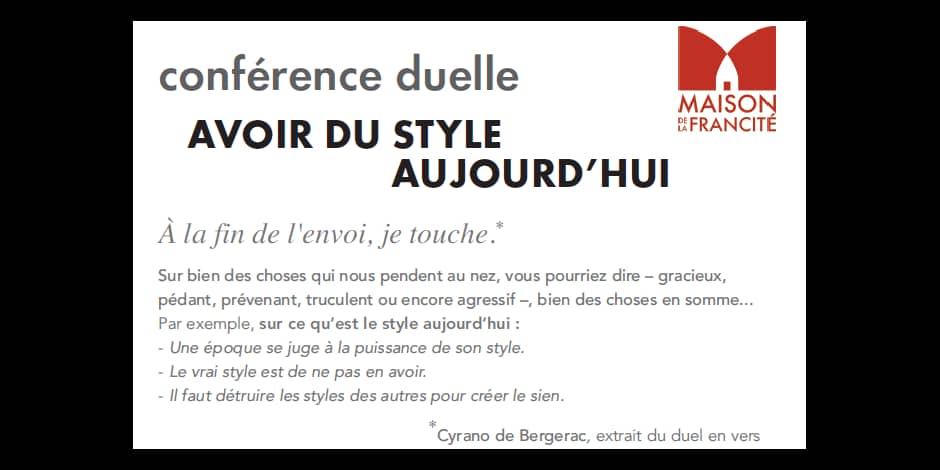 """Gagnez vos places pour la conférence duelle """"avoir du style aujourd'hui"""" à la Maison de la Francité"""