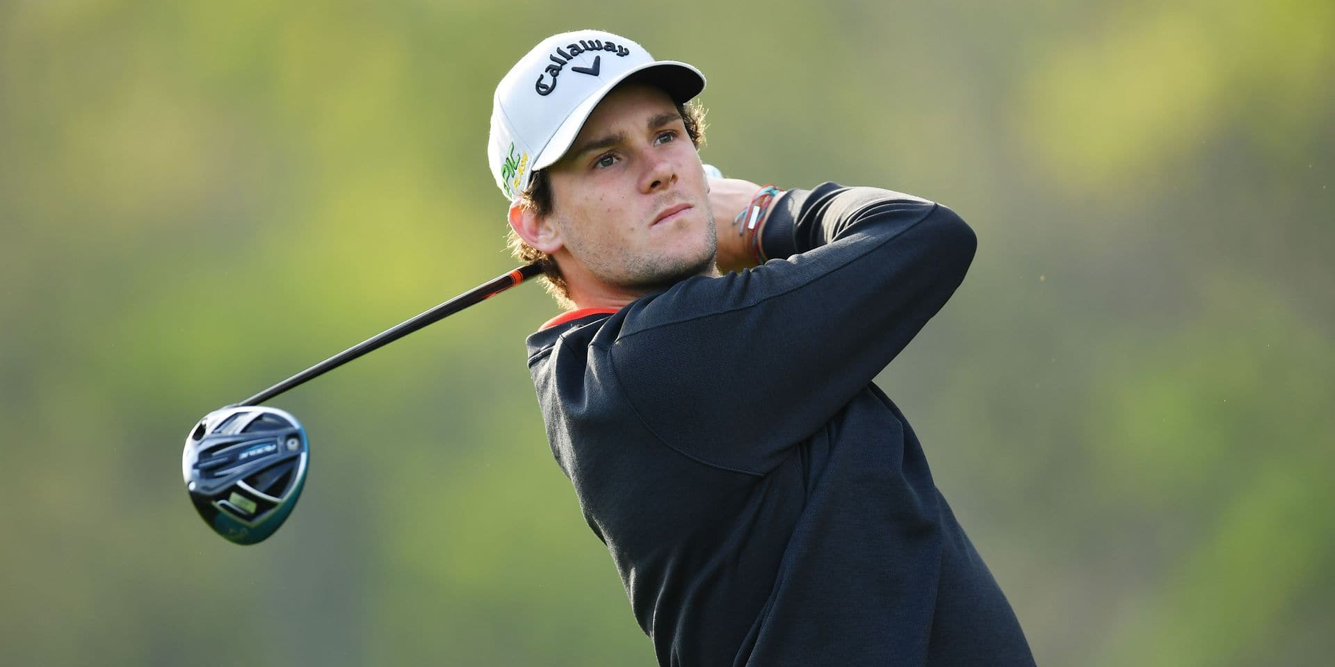 FARMINGDALE, NEW YORK - MAY 16: Thomas Pieters of Belgium plays his shot from the 12th tee during the first round of the 2019 PGA Championship at the Bethpage Black course on May 16, 2019 in Farmingdale, New York. Stuart Franklin/Getty Images/AFP == FOR NEWSPAPERS, INTERNET, TELCOS & TELEVISION USE ONLY ==