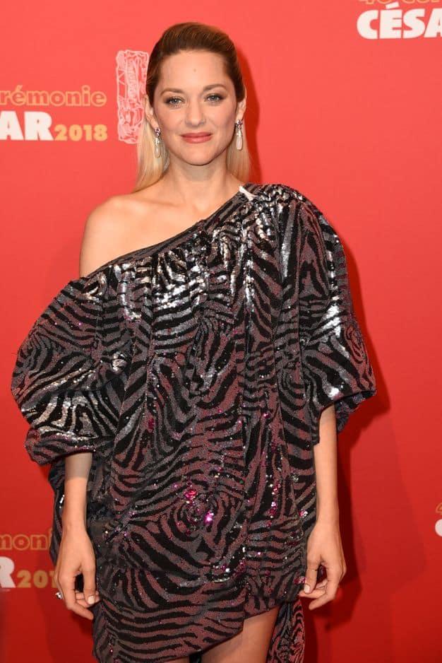 L'actrice de     La Môme a opté pour une robe zébrée et argentée.