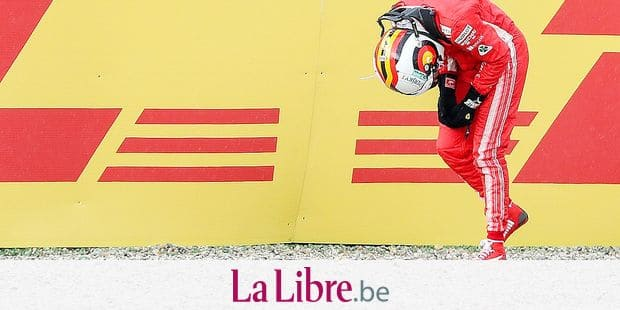 Scuderia Ferrari's German Formula One driver Sebastian Vettel after a crash during the Formula One Grand Prix of Germany at the Hockenheimring Baden-Wuerttemberg racing circuit in Hockenheim, Germany, 22 July 2018. Photo: Motorsportpics.De/Jerry Andre/dpa