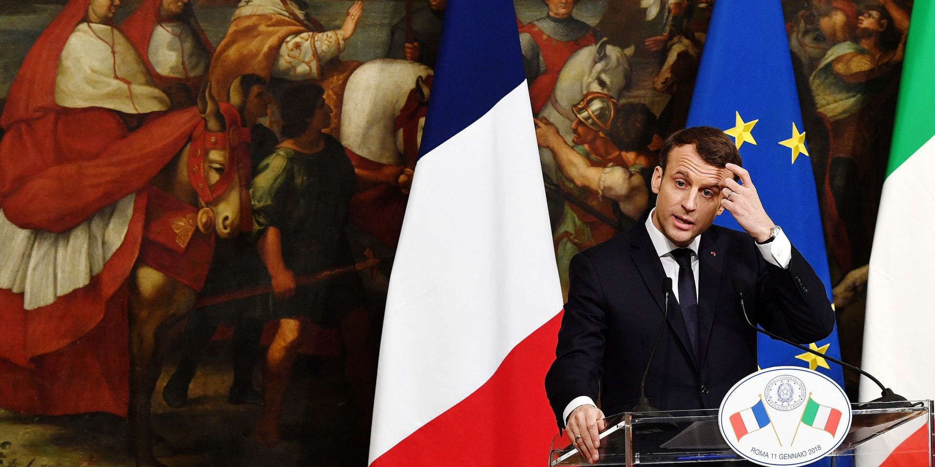 France's President Emmanuel Macron attends a press conference following his meeting with Italian Prime Minister Paolo Gentiloni on January 11, 2018 at the Palazzo Chigi in Rome, Italy. Photo : Eric Vandeville/ABACAPRESS.COM Reporters / Abaca