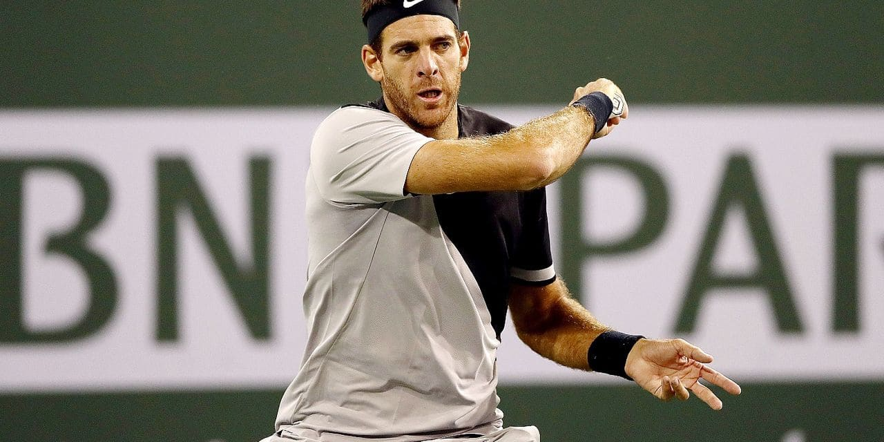 INDIAN WELLS, CA - MARCH 14: Juan Martin Del Potro of Argentina returns a shot to Leonardo Mayer of Argentina during the BNP Paribas Open at the Indian Wells Tennis Garden on March 14, 2018 in Indian Wells, California. Matthew Stockman/Getty Images/AFP == FOR NEWSPAPERS, INTERNET, TELCOS & TELEVISION USE ONLY ==