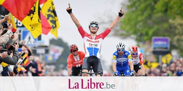 Dutch Mathieu Van der Poel of Corendon-Circus celebrates as he crosses the finish line to win the 59th edition of the 'Brabantse Pijl' one day cycling race, 195,3km from Heverlee, Leuven to Overijse, Wednesday 17 April 2019. BELGA PHOTO DAVID STOCKMAN