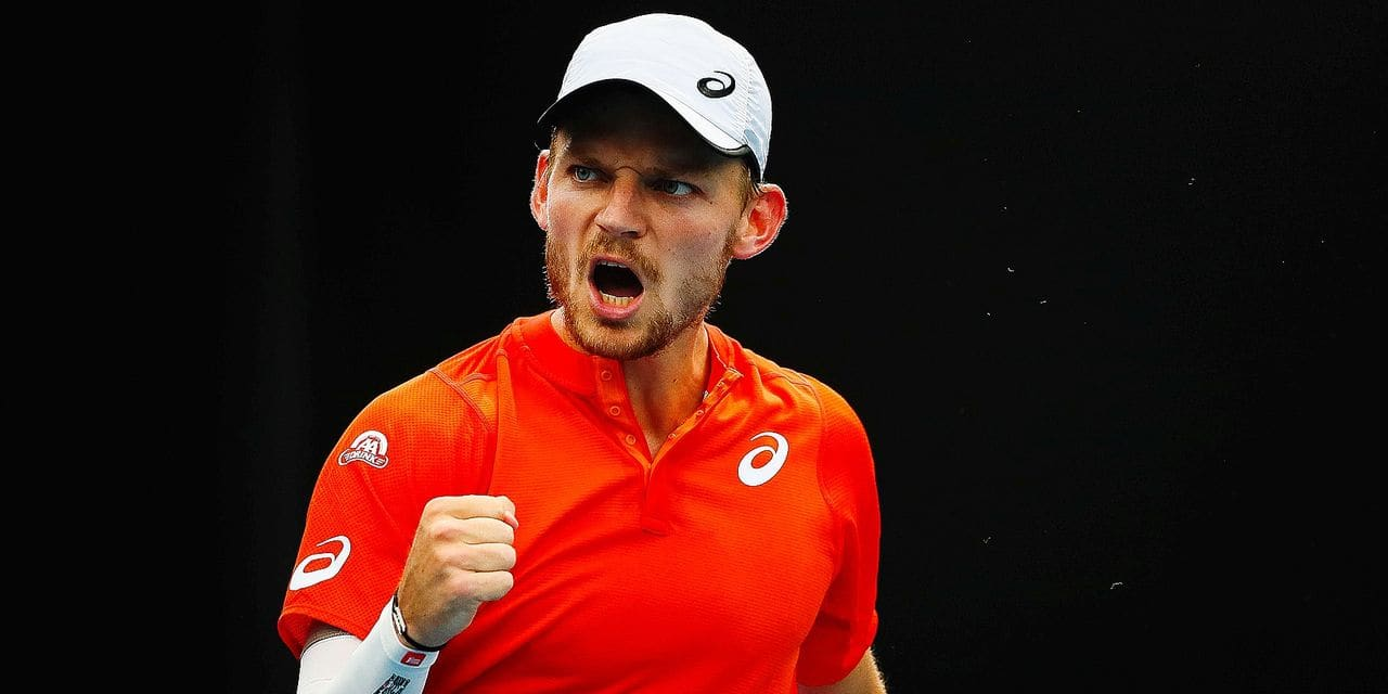 Belgian David Goffin reacts at a Men's Singles second round between Belgian David Goffin (ATP 22) and Romania Marius Copil (ATP 60) at the 'Australian Open' tennis Grand Slam, Thursday 17 January 2019 in Melbourne Park, Melbourne, Australia. This first grand slam of the season will be taking place from 14 to 27 January. BELGA PHOTO PATRICK HAMILTON