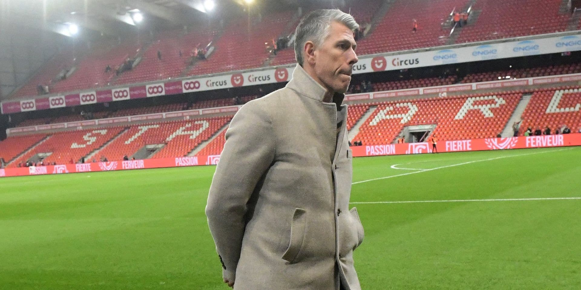 LIEGE, BELGIUM - APRIL 12 : Michael Verschueren looks dejected after the Jupiler Pro League play off 1 match between Standard de Liege and RSC Anderlecht on April 12, 2019 in Liege, Belgium, 12/04/2019 ( Photo by Peter De Voecht Photonews