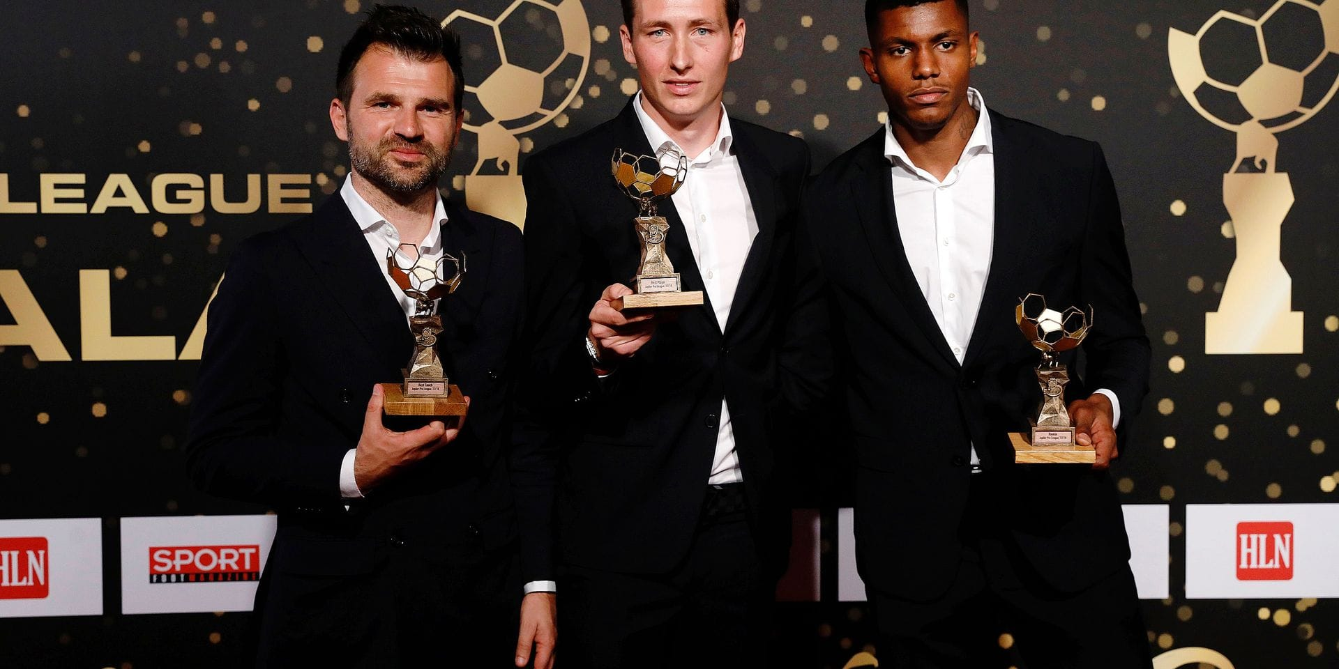 Best Coach winner Club Brugge's head coach Ivan Leko, Best Player winner Club's Hans Vanaken and Best Rookie winner Club's Wesley Moraes pose with their trophies on the red carpet of the third edition of the Professional Soccer Player of the Year 2018 gala evening, Monday 14 May 2018, in Brussels. BELGA PHOTO THIERRY ROGE
