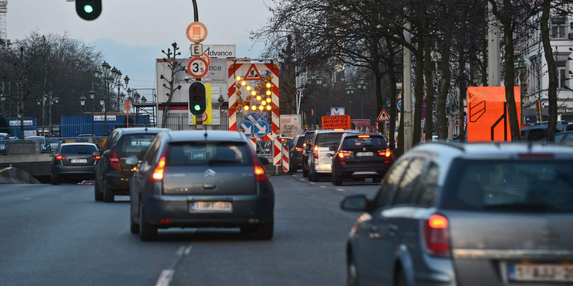 Le temps passé dans les bouchons a baissé en moyenne de 69% à Bruxelles