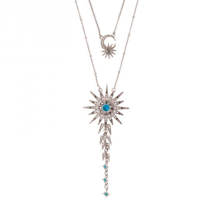 Collier sautoir double rang argent et turquoise, pendentif motifs lune et étoile strassés,                                                         Hipanema, 59€.