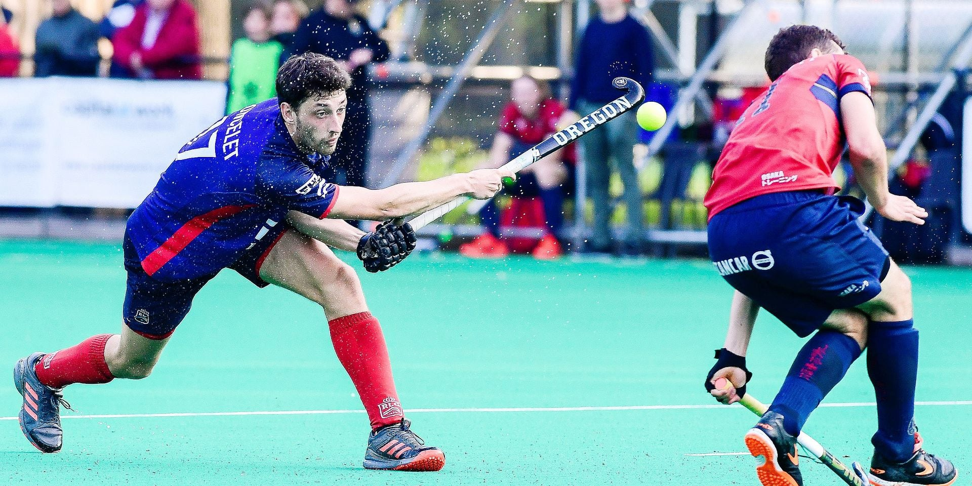 Leopold's Nicolas Poncelet pictured in action during a hockey game between KHC Dragons and Royal Leopold, a first leg semi-final play-offs game of the 'Audi league' Belgian hockey competition, Wednesday 01 May 2019 in Brasschaat. BELGA PHOTO LAURIE DIEFFEMBACQ