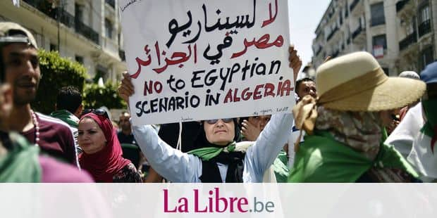 An Algerian woman raises a placard as she takes part in a weekly demonstration in the capital Algiers on June 14, 2019. - Demonstrations have continued since the ailing president stepped down, as protesters demand that regime insiders also exit as a precursor to independent institutions being set up. (Photo by RYAD KRAMDI / AFP)