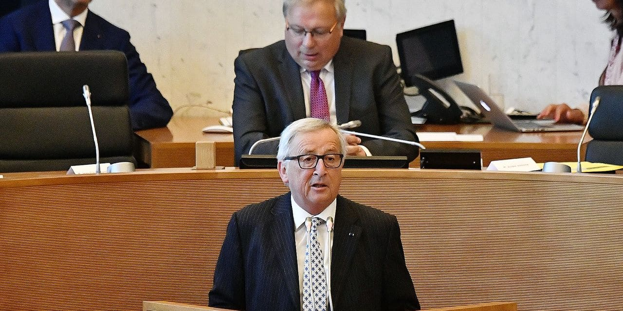 European Commission President Jean-Claude Juncker talks during a plenary session of Walloon parliament, Tuesday 08 May 2018 in Jambes. BELGA PHOTO ERIC LALMAND