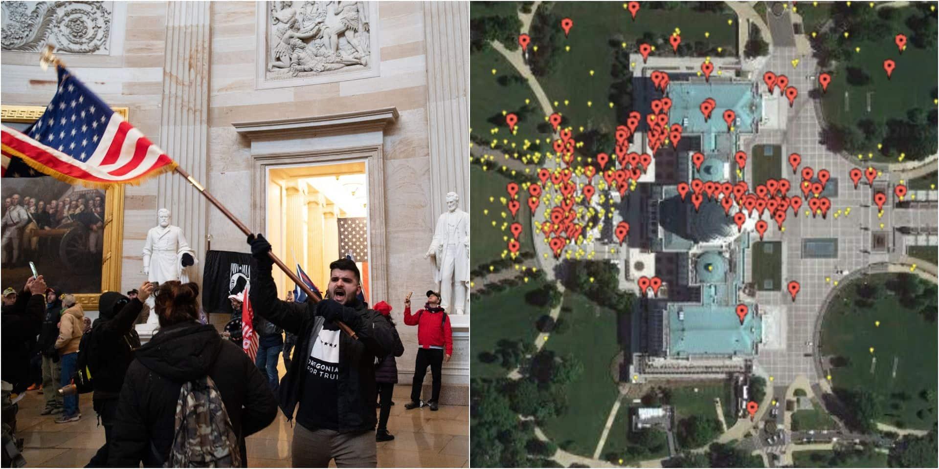 Des vidéos publiées sur les réseaux sociaux transformées en carte interactive de l'attaque du Capitole