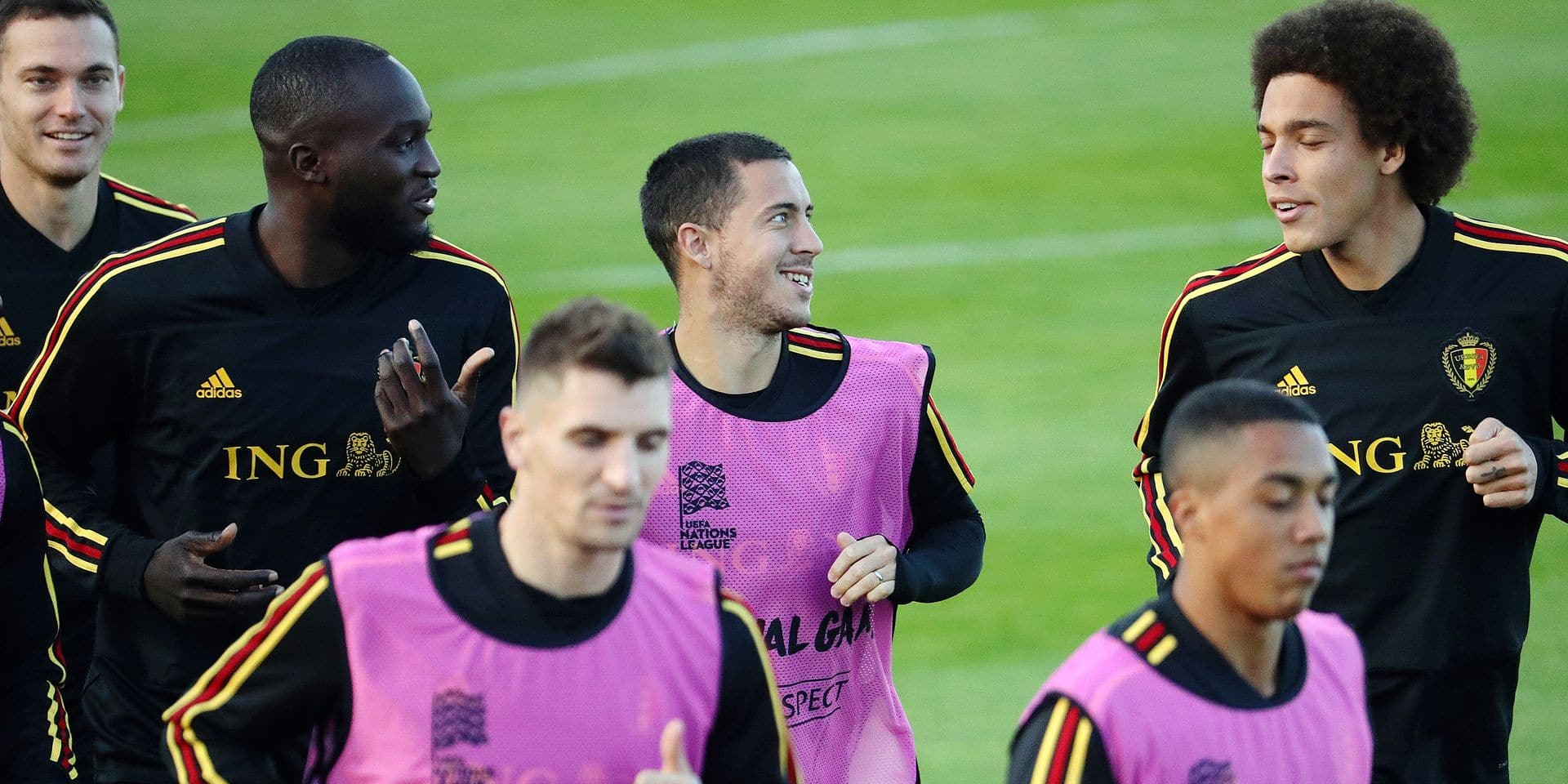Belgium's Romelu Lukaku, Belgium's Eden Hazard and Belgium's Axel Witsel pictured during a training session of Belgian national team the Red Devils in Tubize, Thursday 11 October 2018. Belgium plays their second game in the Nations League against Switzerland on Friday. BELGA PHOTO VIRGINIE LEFOUR