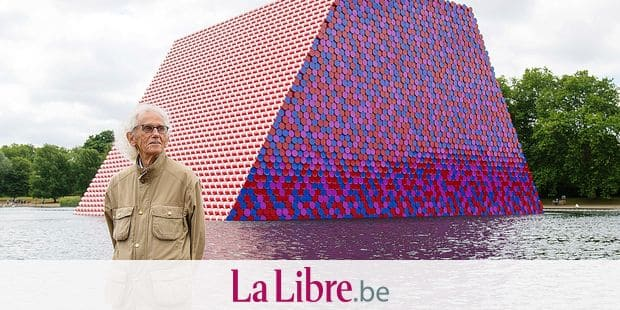 Artist Christo attends the unveiling of his first UK outdoor exhibit, The London Mastaba, on the Serpentine Lake in Hyde Park, central London, Monday June 18, 2018. The sculpture consists of 7,506 horizontally stacked barrels on a floating platform in the lake. (Dominic Lipinski/PA via AP)