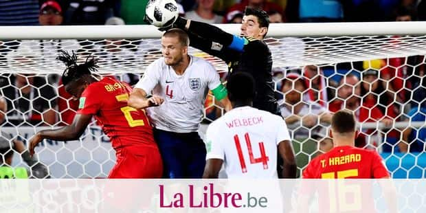 Belgium's Michy Batshuayi, England's Eric Dier, Belgium's goalkeeper Thibaut Courtois, England's Danny Welbeck and Belgium's Thorgan Hazard pictured in action during a soccer game between Belgian national soccer team the Red Devils and England, Thursday 28 June 2018 in Kaliningrad, Russia, the third and last in Group G of the FIFA World Cup 2018. BELGA PHOTO DIRK WAEM