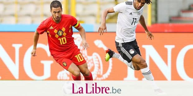 Belgium's Eden Hazard and Egypt's Kahraba fight for the ball during a friendly game between Belgium national team, The Red Devils and Egyptian national soccer team, Wednesday 06 June 2018, in Brussels. Both teams prepare the upcoming FIFA World Cup 2018 in Russia. BELGA PHOTO BRUNO FAHY