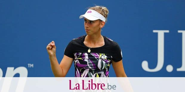 NEW YORK, NEW YORK - SEPTEMBER 02: Elise Mertens of Belgium celebrates a point during her Women's Singles fourth round match against Kristie Ahn of the United States on day eight of the 2019 US Open at the USTA Billie Jean King National Tennis Center on September 02, 2019 in Queens borough of New York City. Mike Stobe/Getty Images/AFP == FOR NEWSPAPERS, INTERNET, TELCOS & TELEVISION USE ONLY ==