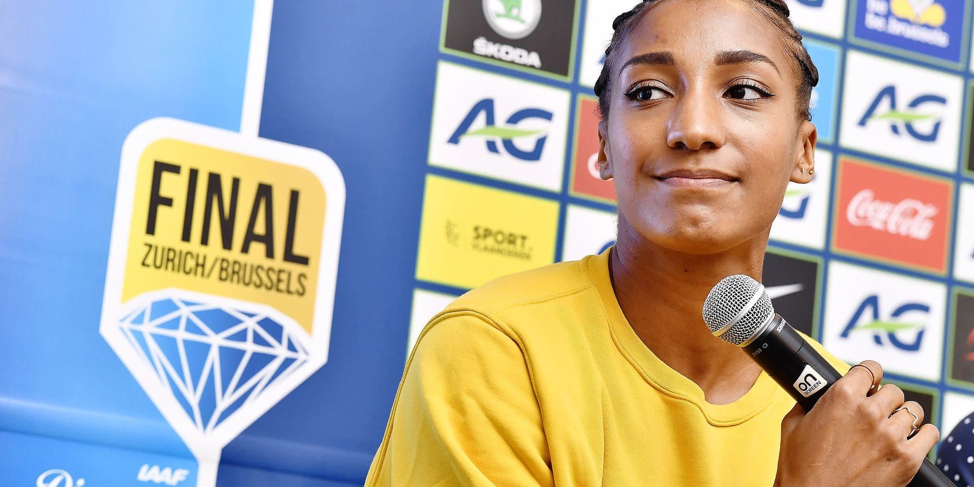 Belgian Nafissatou Nafi Thiam pictured during a press conference regarding the 2019 edition of the AG Memorial Van Damme athletics meeting, Thursday 05 September 2019 in Brussels. BELGA PHOTO DIRK WAEM