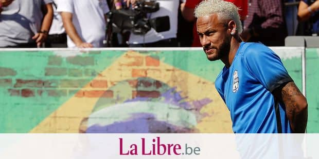 Brazilian soccer player Neymar looks on during the Neymar Jr's Five youth soccer tournament in Praia Grande, Brazil, Saturday, July 13, 2019. (AP Photo/Andre Penner)