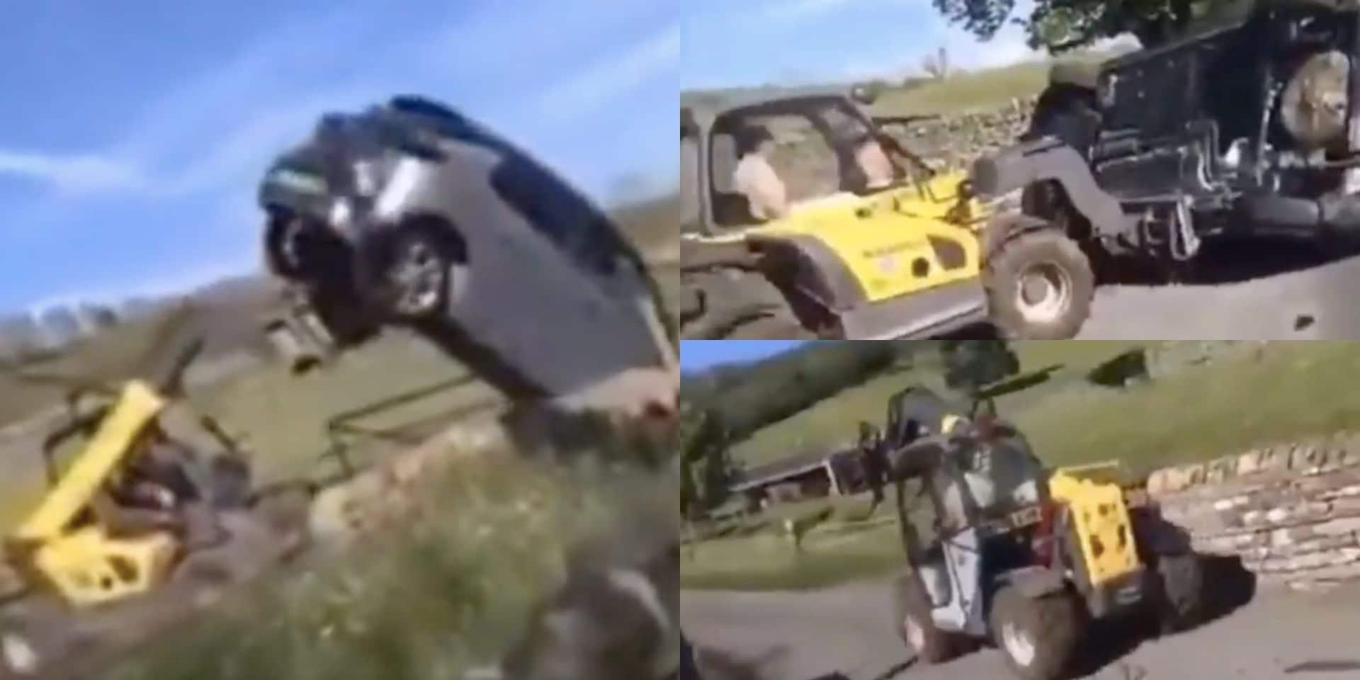Un agriculteur s'emporte et utilise son tracteur pour déplacer une voiture mal garée, le conducteur touché par les fourches (VIDEO)