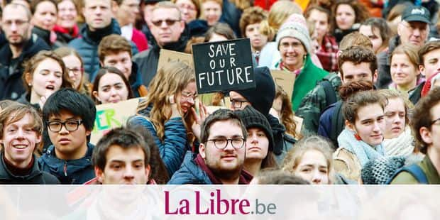Illustration shows students but also adults and kids at a student strike action, organized by 'Youth For Climate', urging pupils to skip classes to protest a lack of climate awareness, Thursday 07 March 2019 in Louvain-La-Neuve. This marks the ninth consecutive week youths take the streets on Thursday. BELGA PHOTO PAUL-HENRI VERLOOY