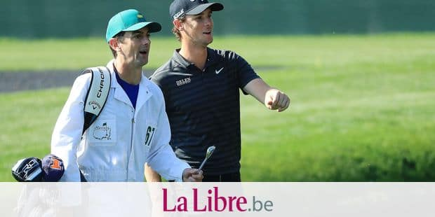 AUGUSTA, GA - APRIL 03: Thomas Pieters of Belgium talks with caddie Adam Marrow on the 16th hole during a practice round prior to the start of the 2018 Masters Tournament at Augusta National Golf Club on April 3, 2018 in Augusta, Georgia. Andrew Redington/Getty Images/AFP == FOR NEWSPAPERS, INTERNET, TELCOS & TELEVISION USE ONLY ==