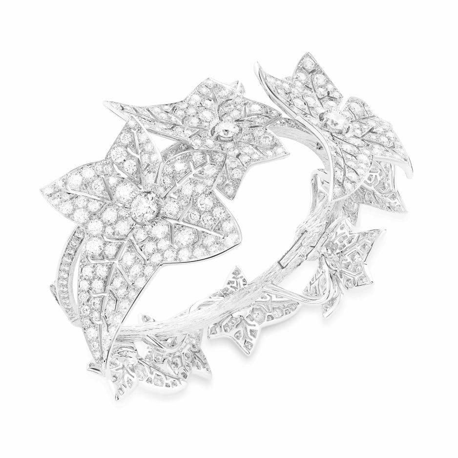 Bracelet Lierre de Paris diamant et or blanc.                        Boucheron, collection Naturaliste.